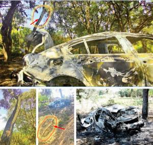 O detalhe da foto mostra a árvore onde o galho foi partido com o choque, cerca de 2 metros de altura do chão onde o carro caiu. Na segunda marca o pedaço arrancado.