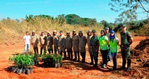 Biosev, ambientalistas e Polícia Ambiental juntos no plantio das mudas