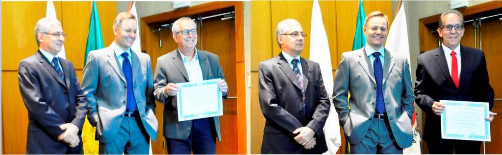 Zezinho (primeira foto) e Toninho, ao lado do Juiz e do Promotor Eleitorais. Secretários representaram o prefeito e vice, que não compareceram à diplomação.